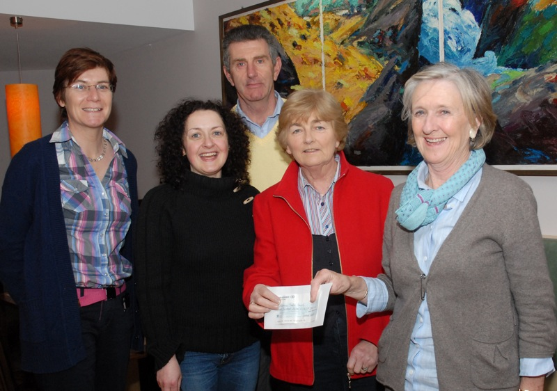 Catherine Field (right), chairperson of Skibbereen Theatre Society, presenting a cheque for €1,000 from the proceeds of the recent Irish premiere of the Frank Vickery comedy, A Kiss on the Bottom, to Rachel O'Keeffe, board member of the West Cork Arts Centre, for its new building project. Also included, from left, are Theatre Society officers Hilda Hegarty, treasurer, Siúin Hurley, secretary, and Fachtna O'Driscoll, artistic director. Having qualified for the All-Ireland Confined Drama Finals in Wexford, they will be staging A Kiss on the Bottom again at Skibbereen Town Hall on Sunday, April 3rd, and again on Saturday and Sunday, April 9th and 10th. (Pic: Eoghan Daly)