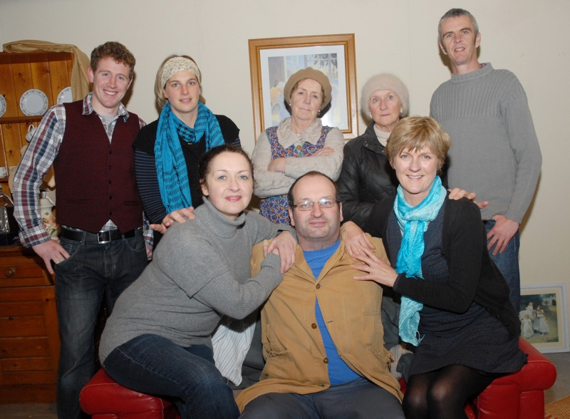 The cast of Skibbereen Theatre Group's new comedy production, The Two Loves of Gabriel Foley, which they will be performing at Skibbereen Town Hall - seated from left - Siúin Hurley, Gearóid McCarthy and Terri Kearney. Back: Padraig Courtney, Mary O'Driscoll, Brenda O'Driscoll, Catherine Field and Declan McCarthy, who is also the director. (Photo: Eoghan Daly)