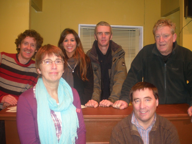 The cast of Skibbereen Theatre Society's 2012 production of Billy Roche's Poor Beast in the Rain - front, from left - Carmel O'Driscoll and Eugene McCarthy. Back: Micheál Hurley, Sarah Murphy, Declan McCarthy and Donagh Long.